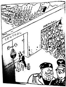 """Cartoon aparecido na Imprensa Sueca que parodiava a suposta """"neutralidade"""" portuguesa no conflito espanhol, cujo papel foi fundamental para o apoio logístico dado às tropas nacionais pela Itália e a Alemanha"""