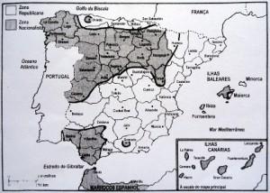 Divisão da Espanha em finais de Julho de 1936